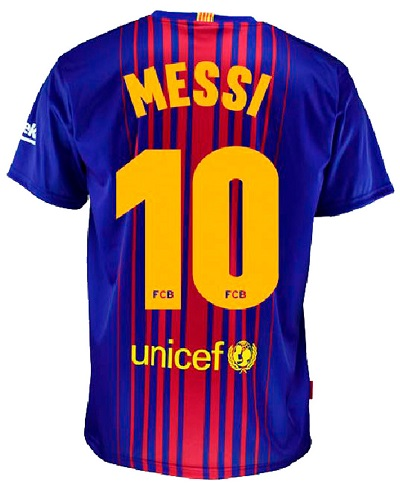 Barcelona mezfelső replika HOME MESSI 10 2017/18 JNR