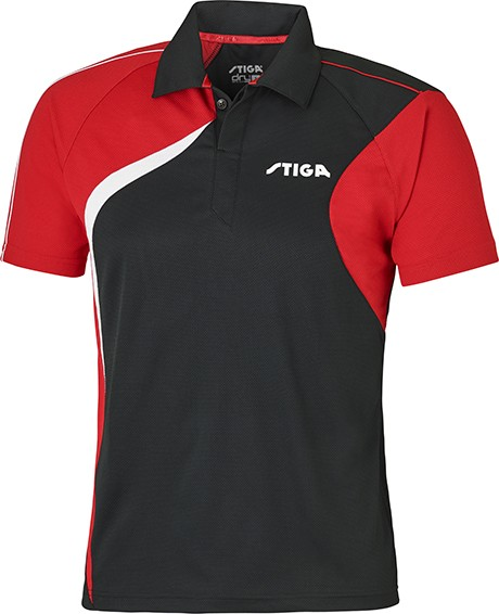 Stiga Shirt Voyage Uniszex Poló Black/Red/White