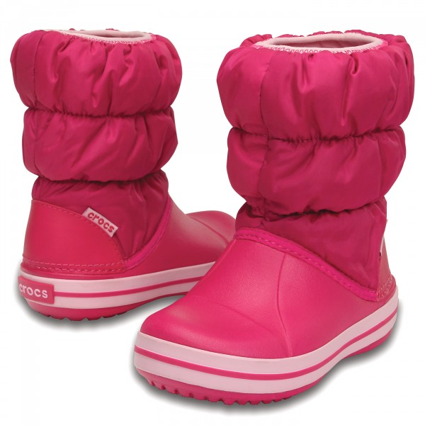 Crocs Winter Puff Boot candy pink gyerek hótaposó csizma