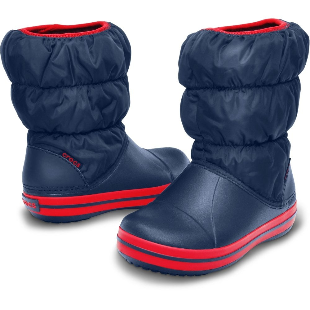 Crocs Winter Puff Boot Boot Navy/Red gyerek hótaposó csizma