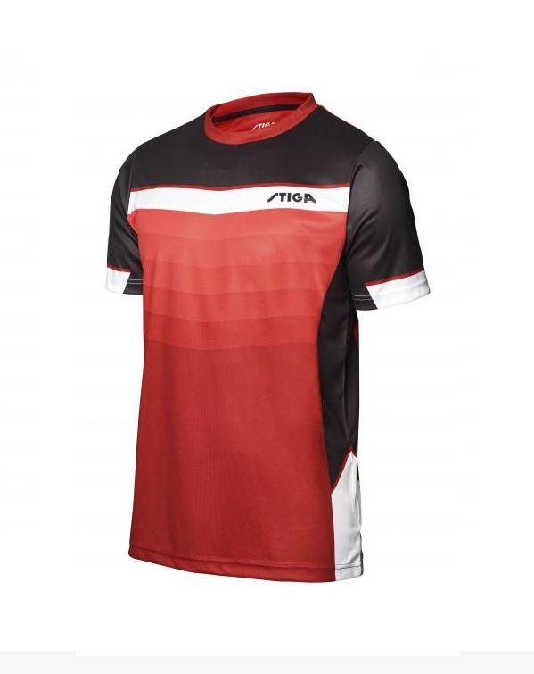 Stiga River Shirt uniszex póló Dark Red/Black