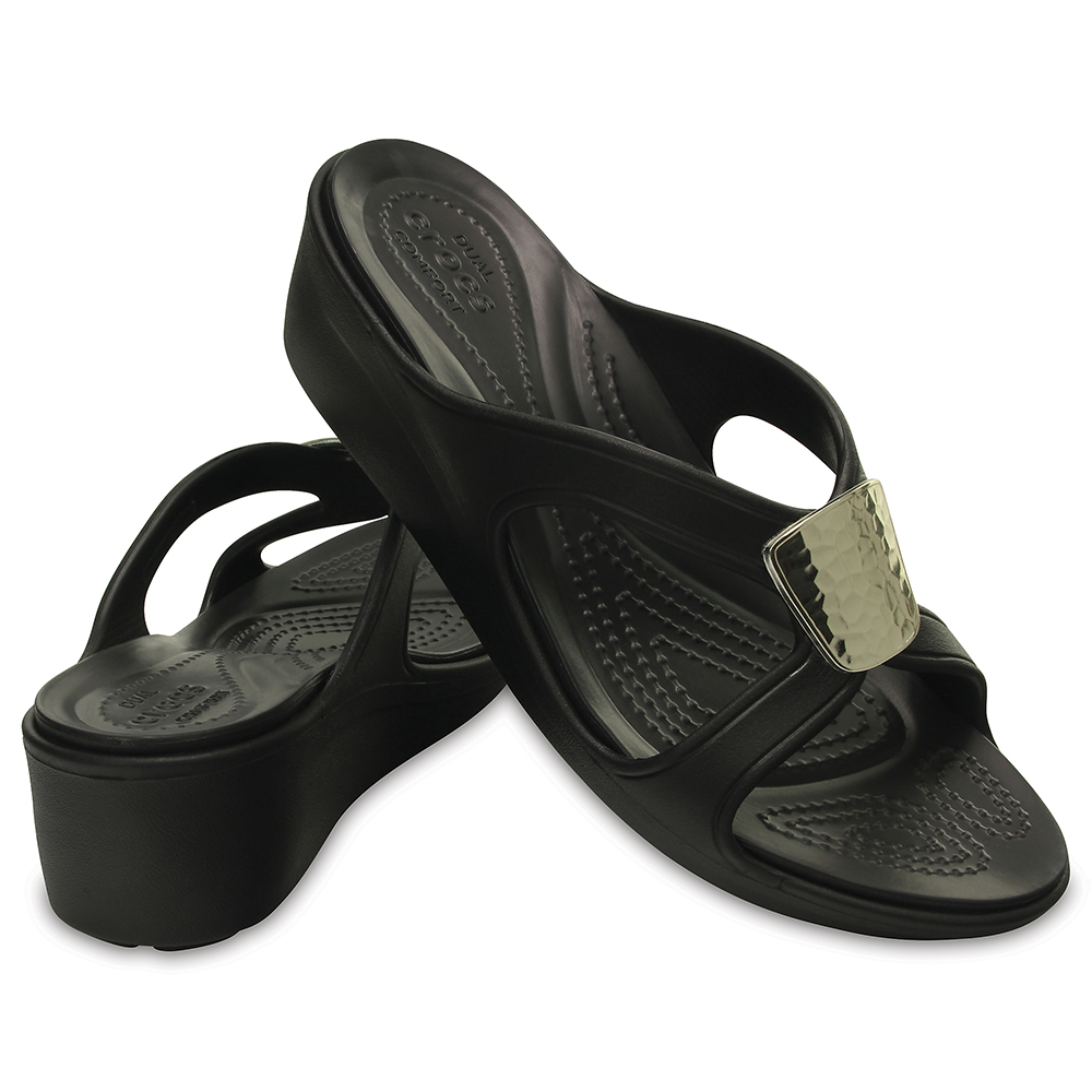 Crocs Sanrah Embellished Wedge/Black ÚJ
